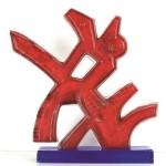 UMBERTO MASTROIANNI, Elemento, scultura in vetro rosso, 1996 lgt (cm 54x50x10)